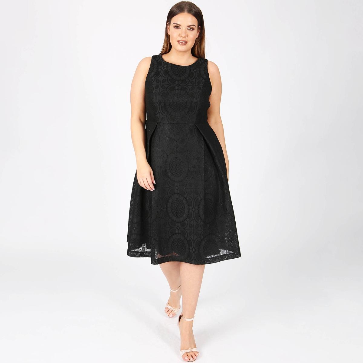 Платье-миди расклешенное из кружева без рукавов кружевное платье миди 40 44