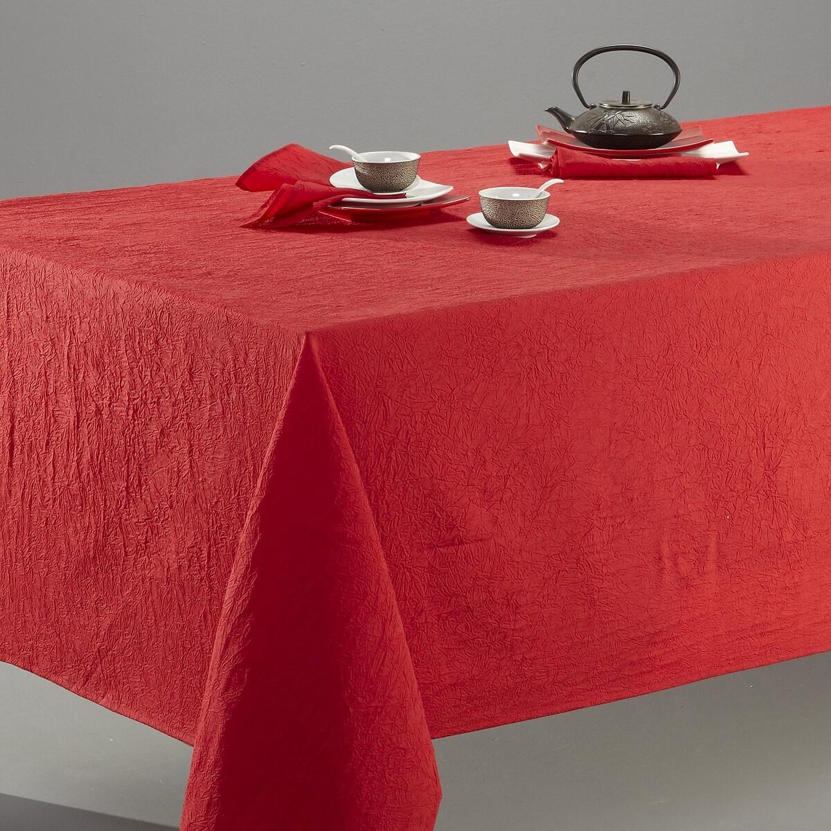 Скатерть LaRedoute Из жатого полиэстера CERYAS 150 x 200 см красный