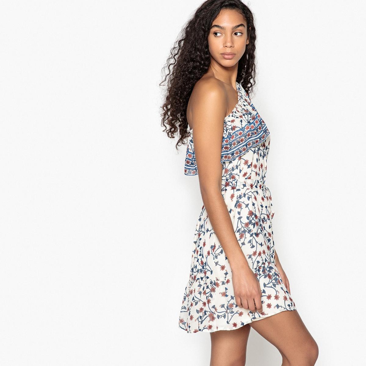 Платье прямое с асимметричным декольте и принтом платье без рукавов suncoo