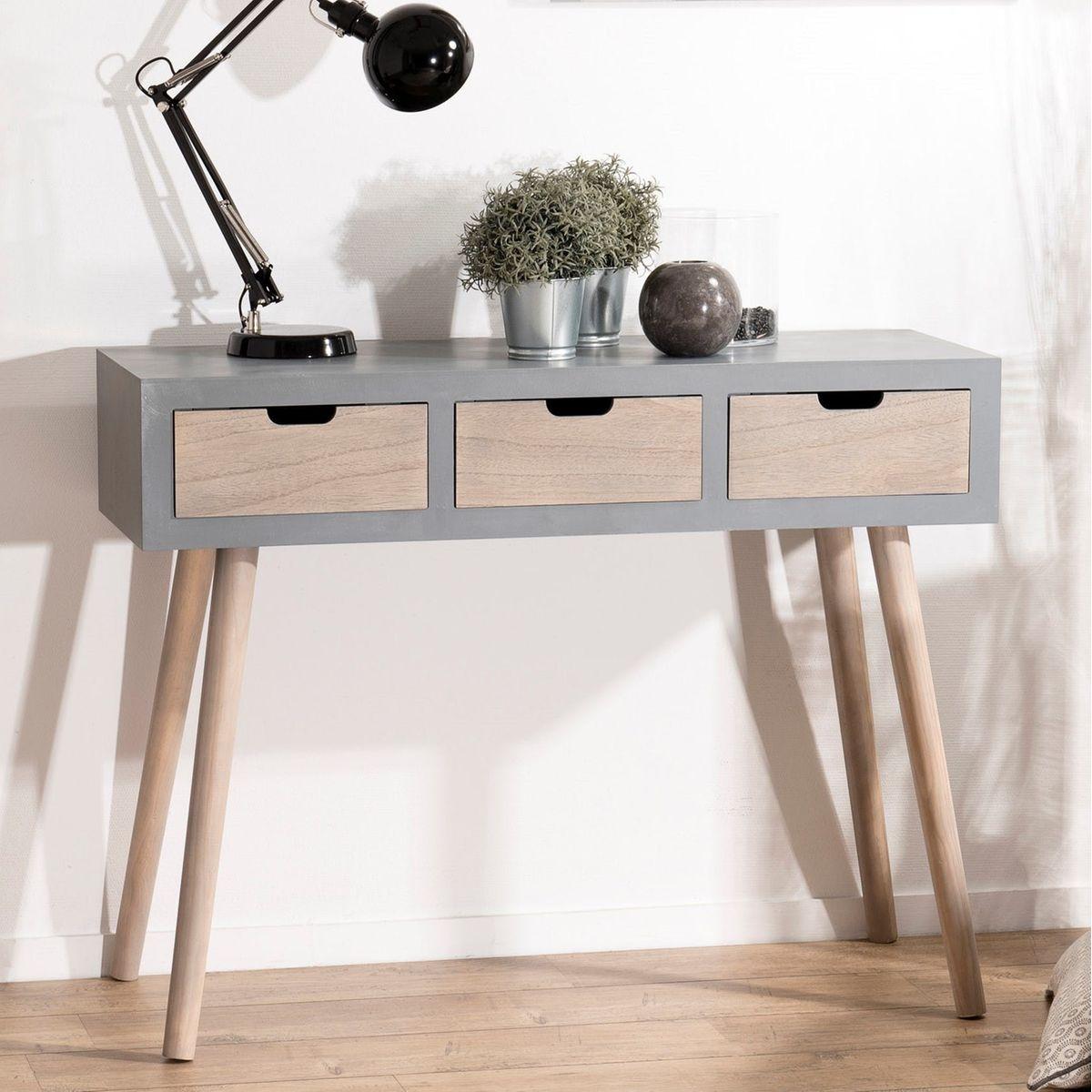 Console en bois couleur gris béton style scandinave 3 tiroirs 100cm LORENS