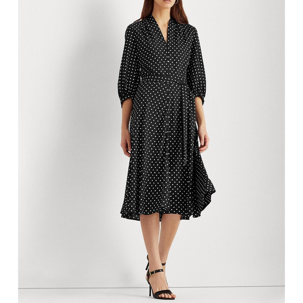 Платье LaRedoute В горошек с ремешком 42 (FR) - 48 (RUS) черный