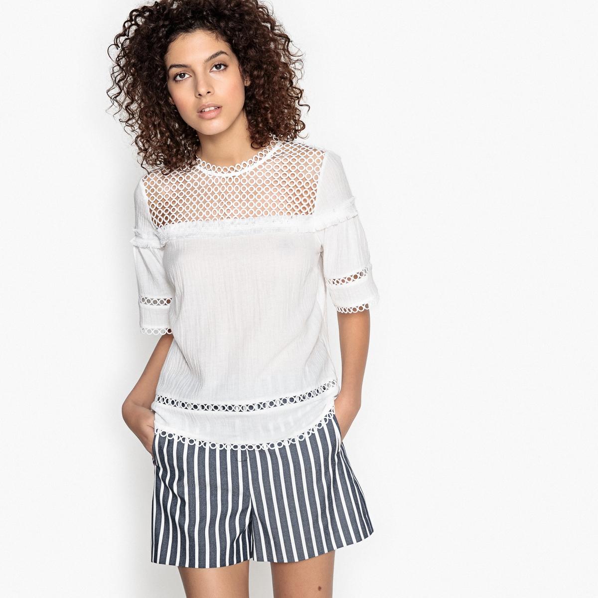 Блузка кружевная с короткими рукавами