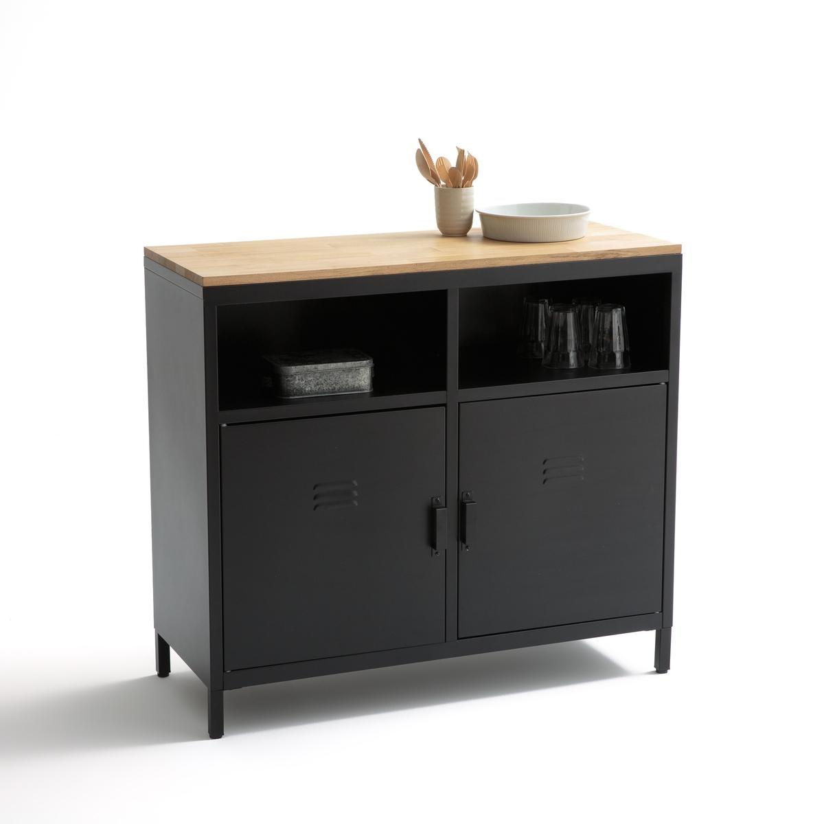 Шкаф LaRedoute Кухонный с 2 дверцами и 2 нишами HIBA единый размер черный