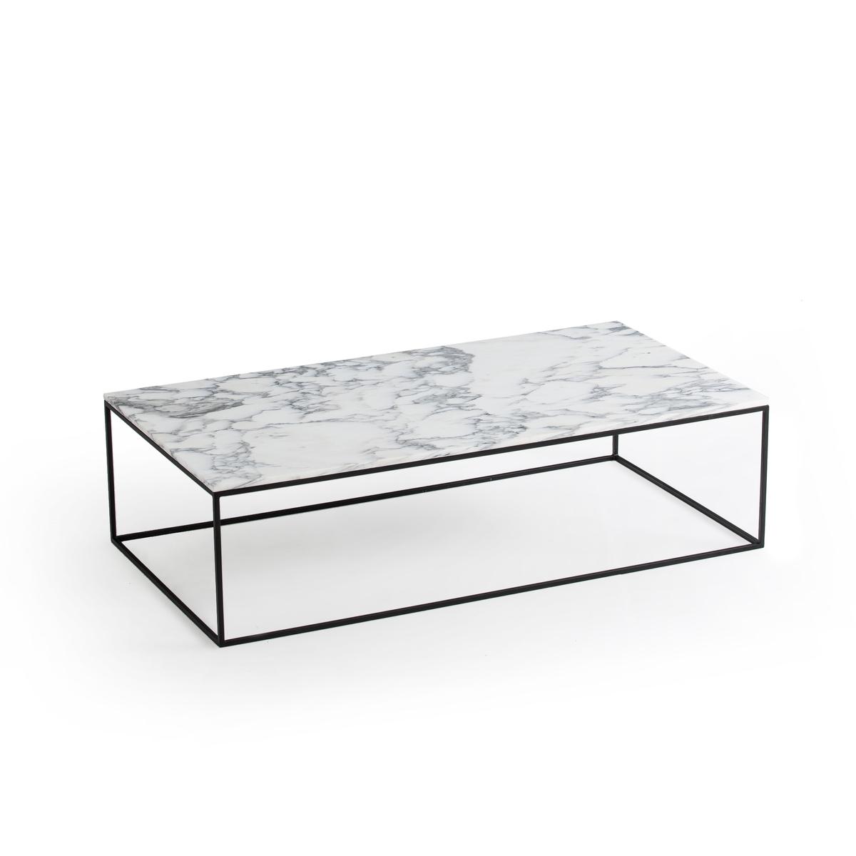 Стол LaRedoute Журнальный прямоугольный черный металл и мрамор Mahaut единый размер белый