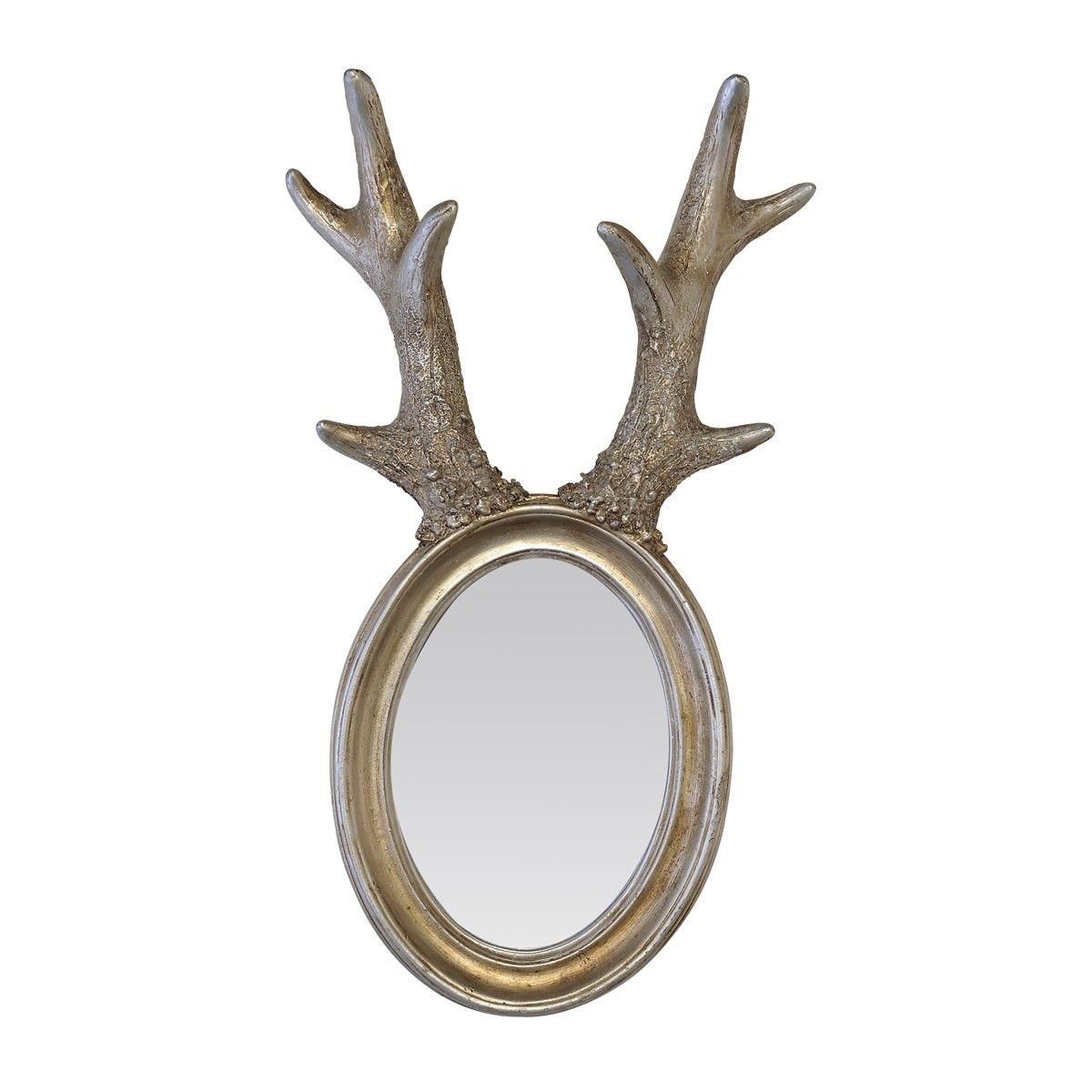 Miroir à cornes de Cerf argent