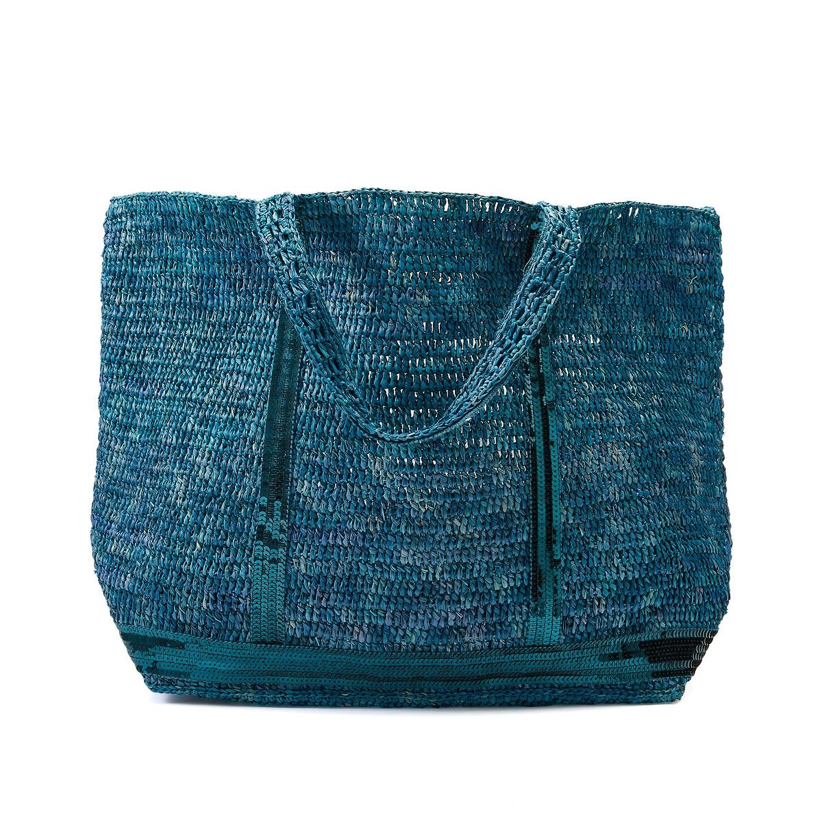 Фото - Сумка-шоппер La Redoute Из рафии с блестками единый размер синий сумка шоппер средняя из парусины с блестками