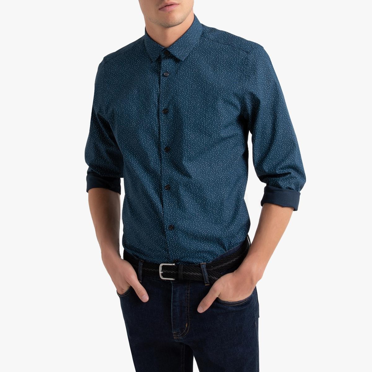 Рубашка La Redoute Узкого покроя с рисунком и длинными рукавами 47/48 синий блуза la redoute с рисунком и длинными рукавами s синий