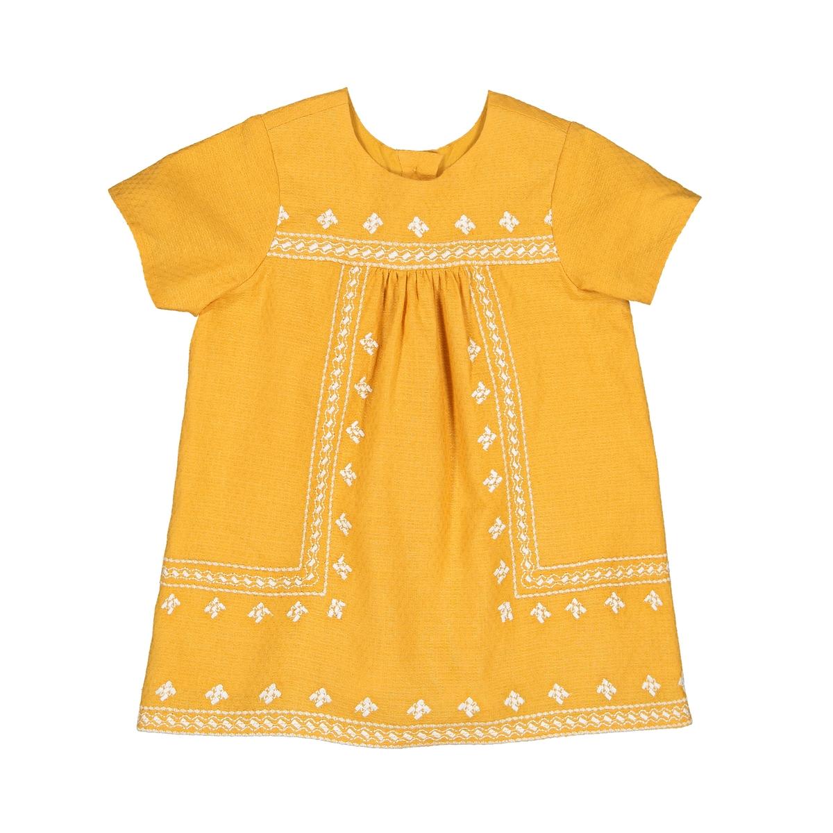 Платье La Redoute С вышивкой и короткими рукавами мес - года 1 мес. - 54 см желтый шорты с вышивкой 1 мес 3 года
