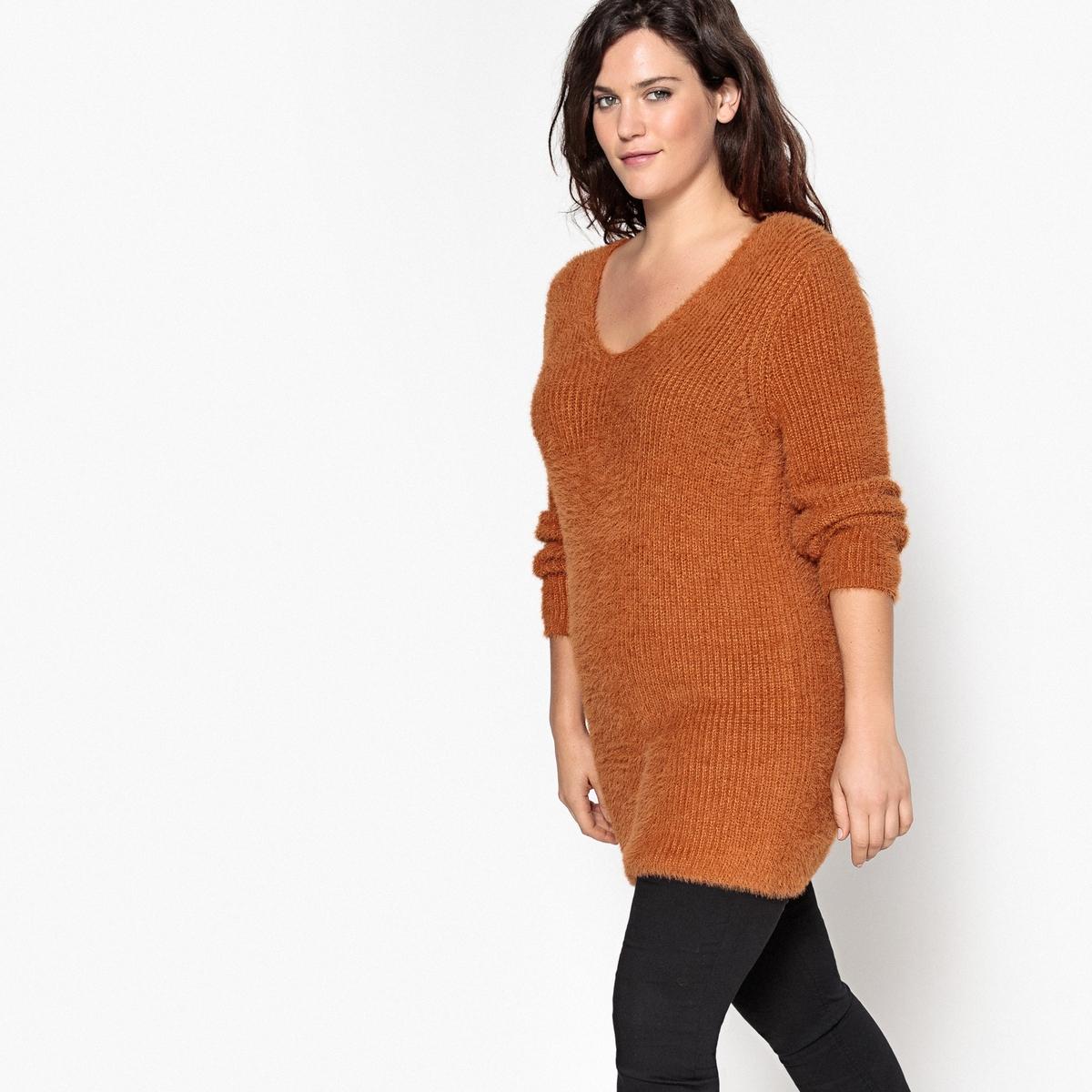 Пуловер длинный из плотного трикотажа с V-образным вырезомДлинный пуловер с V-образным вырезом из очень мягкого ворсистого трикотажа. Длинный пуловер с V-образным вырезом отлично смотрится с леггинсами или брюками-слим. Детали •  Длинные рукава •   V-образный вырез •  Плотный трикотаж Состав и уход •  30% акрила, 70% полиамида •  Температура стирки 30° на деликатном режиме   •  Сухая чистка и отбеливание запрещены    •  Сушить на горизонтальной поверхности •  Не гладить  Товар из коллекции больших размеров<br><br>Цвет: коричнево-желтый<br>Размер: 42/44 (FR) - 48/50 (RUS)