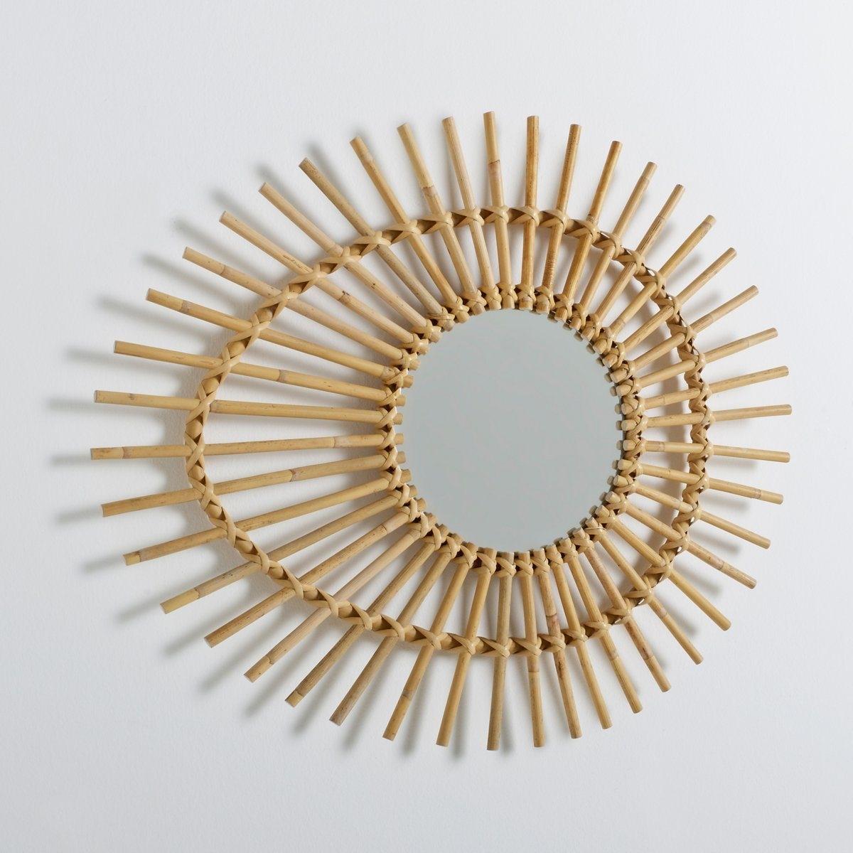Винтажное зеркало Nogu в форме глаза из ротанга