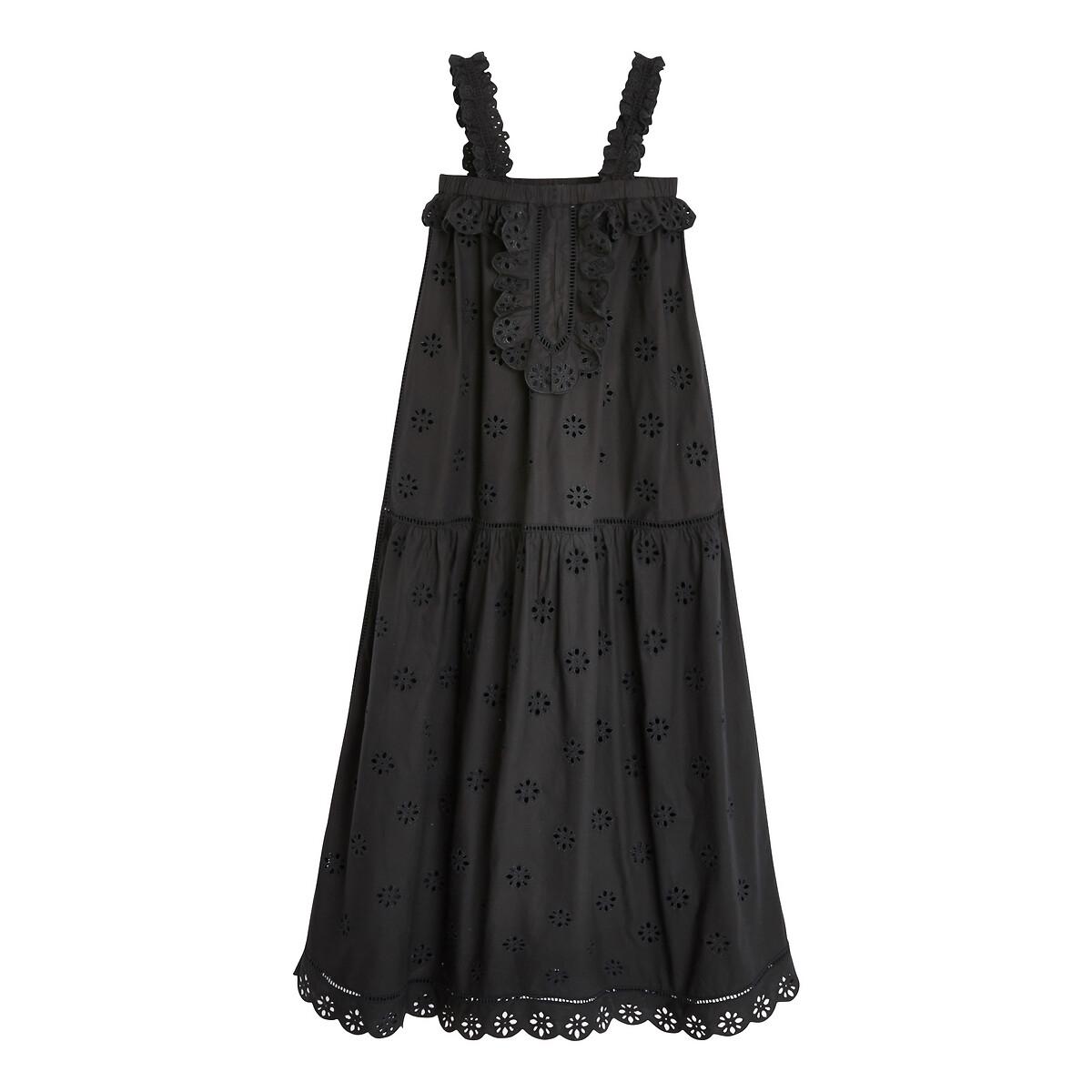 цена Платье La Redoute Длинное на тонких бретелях MINEY XS черный онлайн в 2017 году
