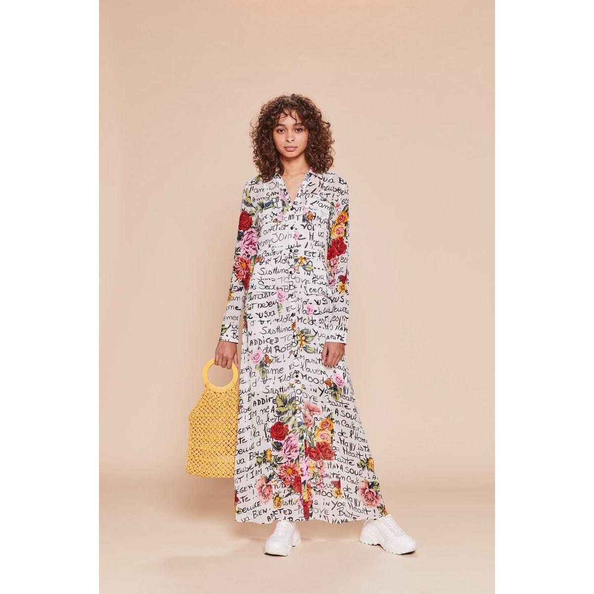 Robe chemise longue motifs graphiques - FIANCAILLES