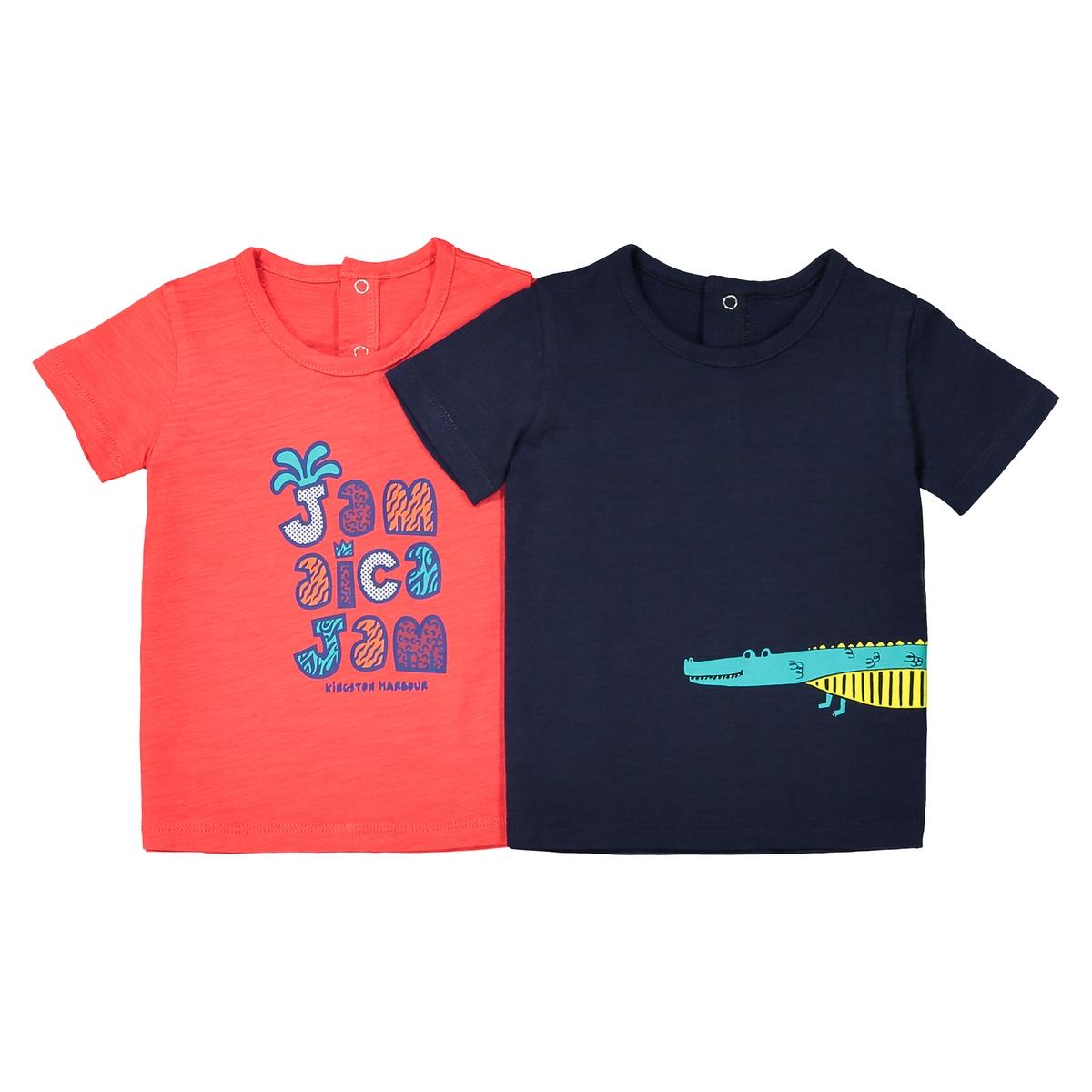 Комплект из 2 футболок с круглым вырезом, знак Oeko Tex, 1 мес. - 3 года комплект из 4 футболок 1 мес 3 года oeko tex