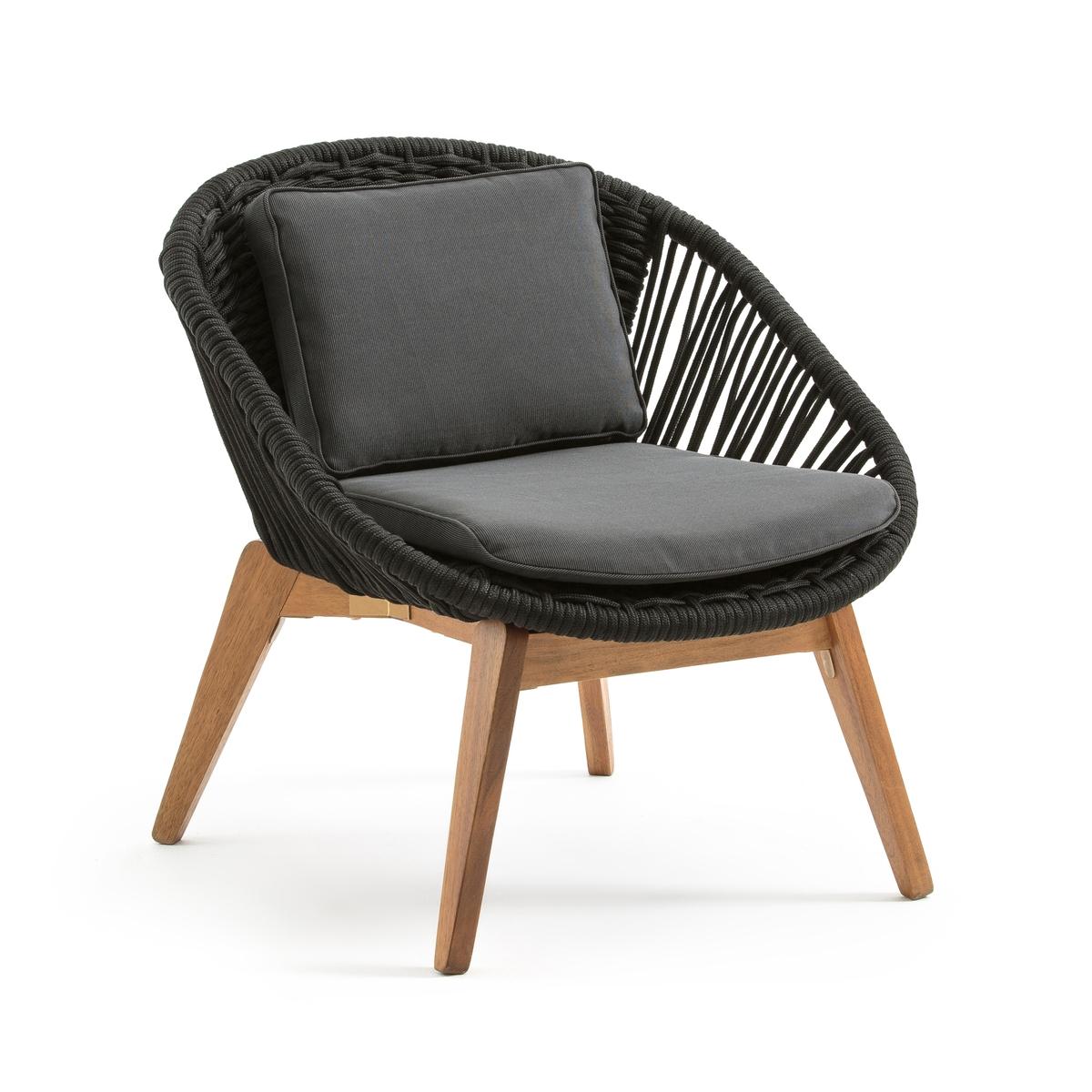 Кресло садовое Jo?mieКресло Jo?mie . Садовое кресло из акации с комфортным сиденьем и спинкой из плетеной веревки, которое впишется в любой стиль . Найдите подходящие диван, кресло-качалку и шезлонг на нашем сайте    . .Характеристики дивана Jo?mie :  : • Каркас из акации FSC* с масляным покрытием под тиковое дерево   • Плетеные сиденье и спинка из полиэстеровой веревки ?8 мм                                          • Подушка сиденья толщина 5 см из поролона и полиэстерового волокна, спинка из полиэстерового волокна, обивка подушек 100% полиэстер  220г/м2    .Съемные подушки .Качество :Акация - дерево, обладающие хорошими механическими свойствами такими, как прочность (хорошая стойкость к насекомым и грибкам) и устойчивость (сочетание сухих и влажных периодов).Размеры кресла Jo?mie :Ширина : 77 смВысота : 81 смГлубина : 75 см                                                                              Сиденье : L55 x H47 x P55 cm                   Размеры и вес ящика : 1 упаковка96 x 83 x 46 cm23 кг Доставка :До квартиры !Внимание! ! Убедитесь, что посылку возможно доставить на дом, учитывая ее габариты.* Знак качества FSC выдаётся Лесным попечительским советом (Forest   Stewardship Council) и является свидетельством соответствия стандартам ответственного управления лесами, легальности производства, возможности отслеживания происхождения древесины, сохранения биоразнообразия и ме?.<br><br>Цвет: черный