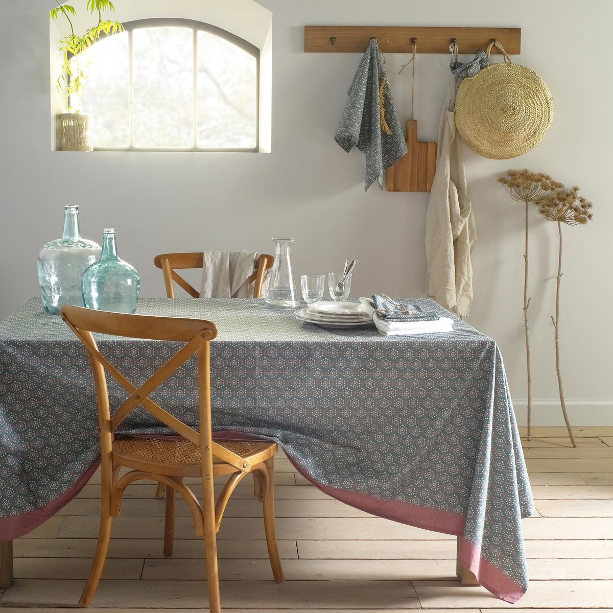 Toalha de mesa estampada em algodão/linho lavado, OLÉANE