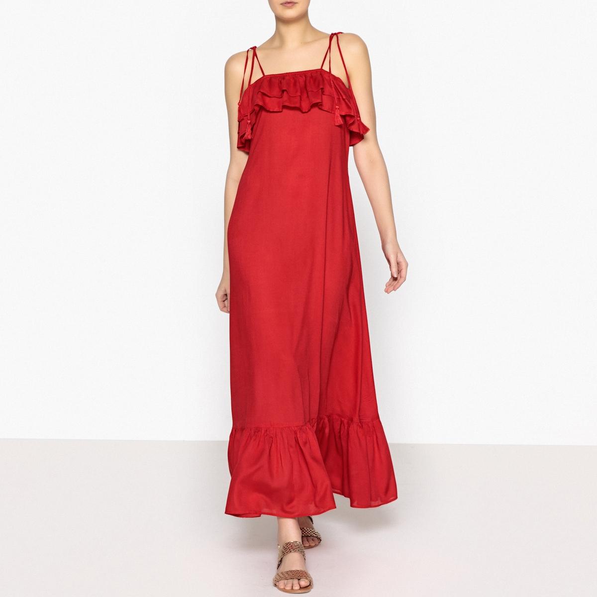 Платье длинное BOWLY LONG DRESSОписание:Длинное платье ANTIK BATIK - модель BOWLY LONG DRESS. Двойные воланы на груди и резинка. Завязки на плечах. Свободный покрой, волан снизу. Из очень мягкой вискозы.Детали •  Форма : расклешенная •  Удлиненная модель •  Тонкие бретели    •  Без воротникаСостав и уход •  100% вискоза •  Следуйте советам по уходу, указанным на этикетке •  Длина ок.115 см. для размера 36, волан снизу<br><br>Цвет: красный