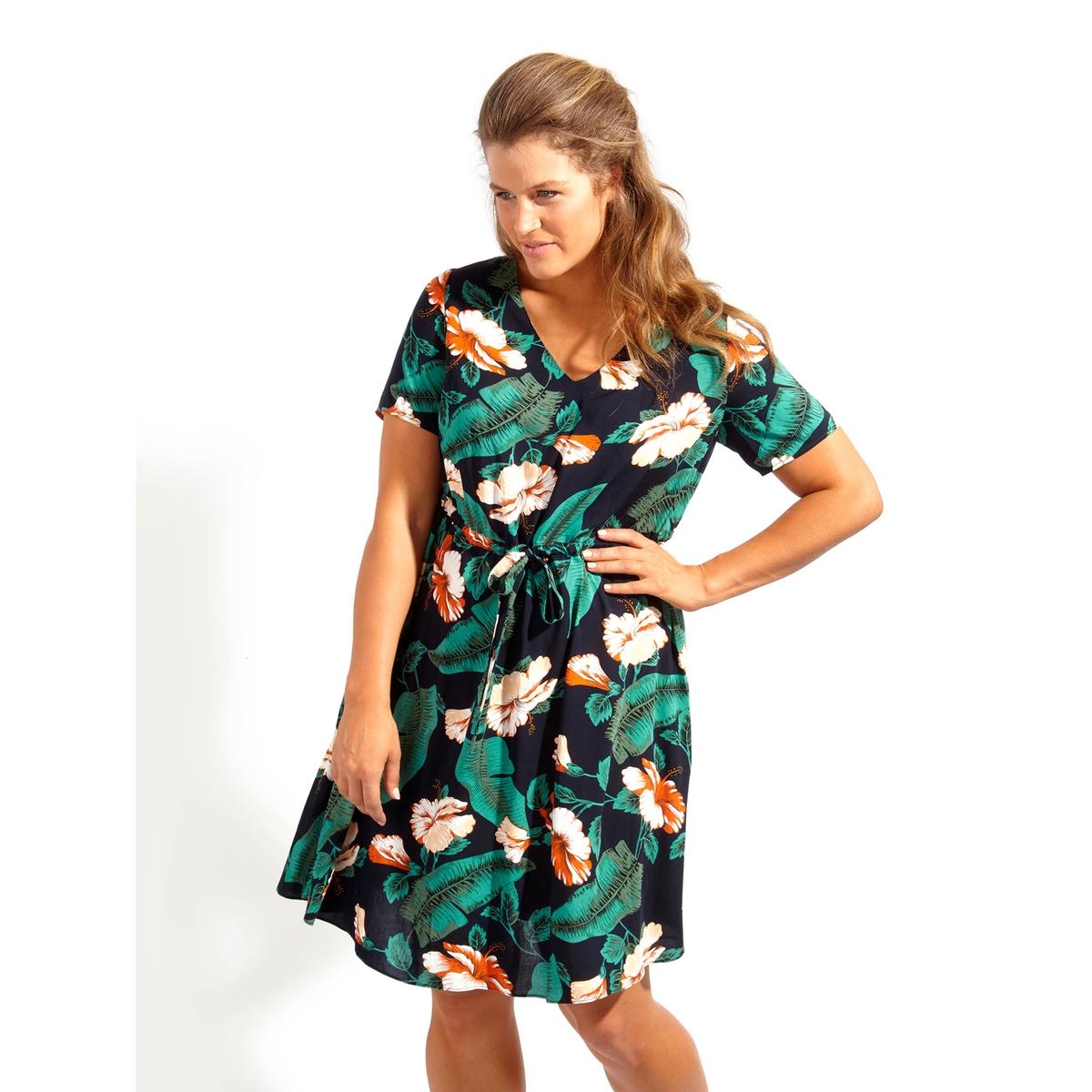 ПлатьеПлатье - KOKO BY KOKO. Красивое платье с V-образным декольте, завязками на поясе и карманами . 100% полиэстер<br><br>Цвет: набивной рисунок<br>Размер: 50/52 (FR) - 56/58 (RUS).46 (FR) - 52 (RUS)