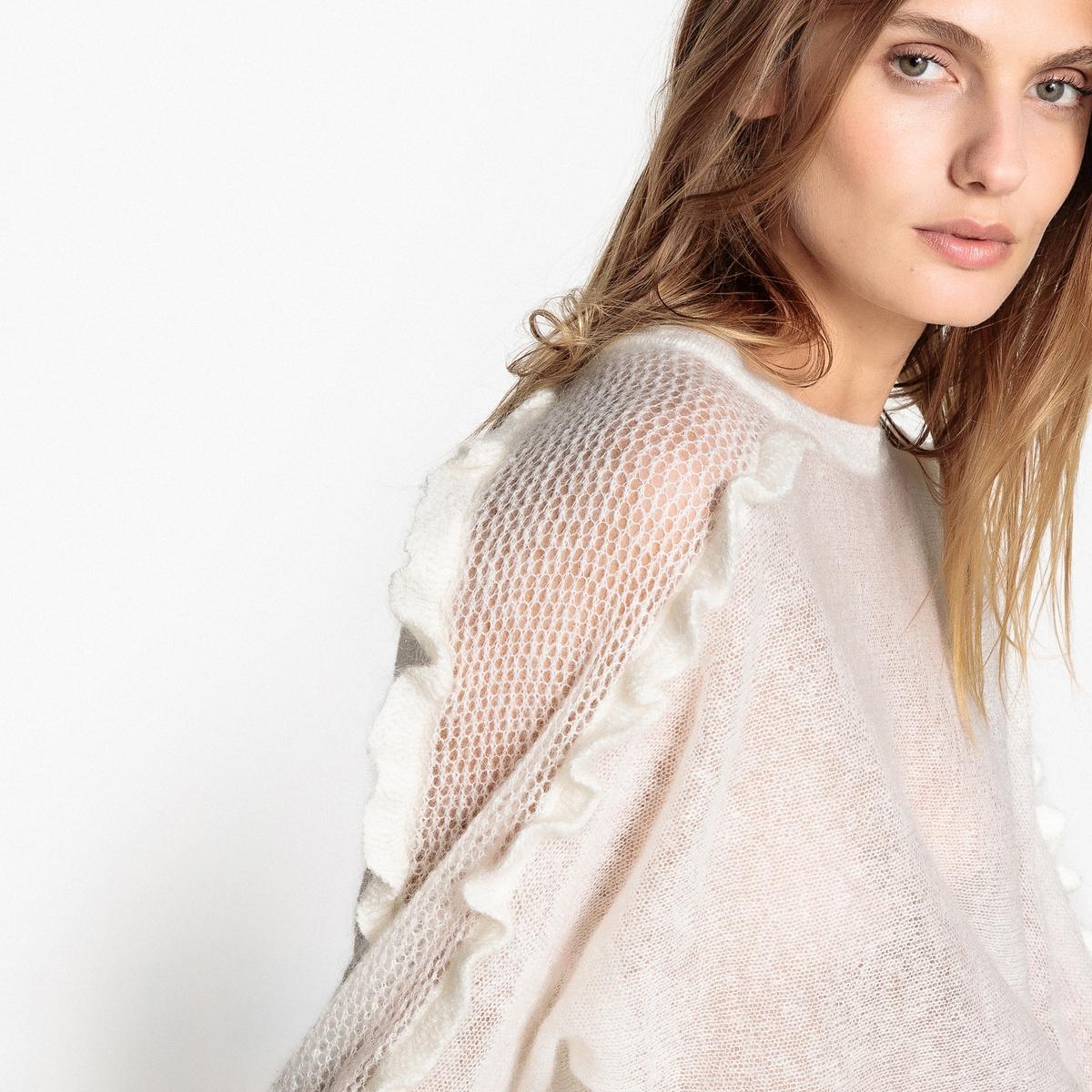 Пуловер из мохера с воланами на рукавах пуловер из мохера