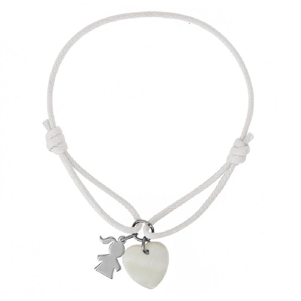 Bracelet Cordon Blanc Longueur réglable Pampille Petite Fille Coeur Nacre Blanche Argent 925