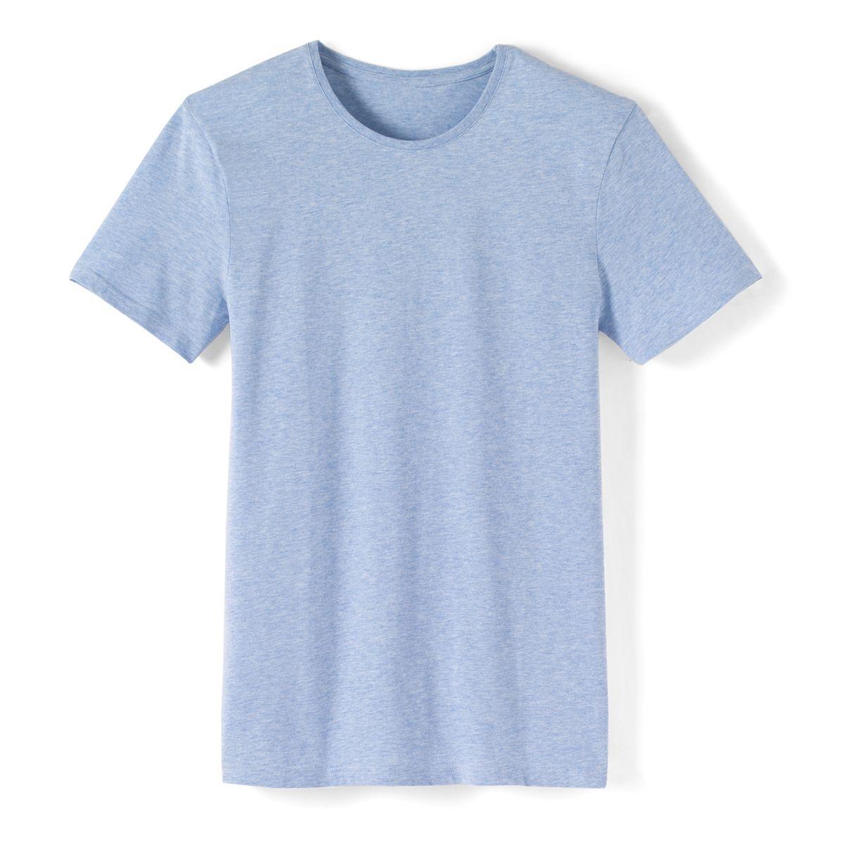 T-shirt col rond chiné pur coton