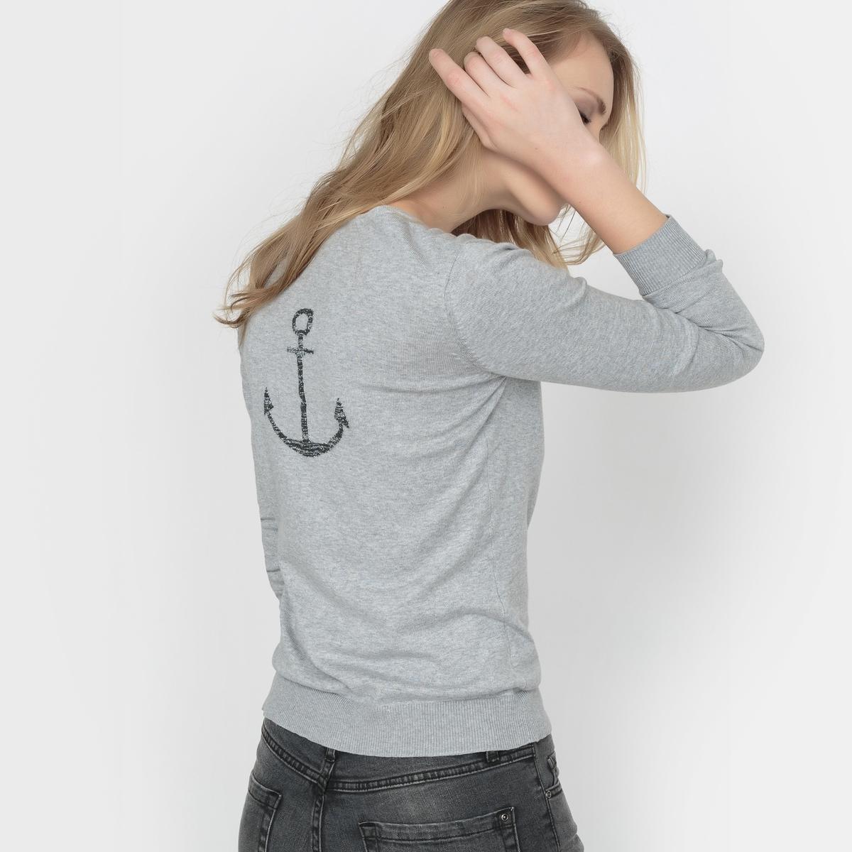 Пуловер с круглым вырезом и разрезом спередиСостав и описание: Материал: 83% хлопка, 17% полиамида.Длина: 62 см.Марка: R ?ditionУход:Машинная стирка при 30°C.<br><br>Цвет: красный темный,черный