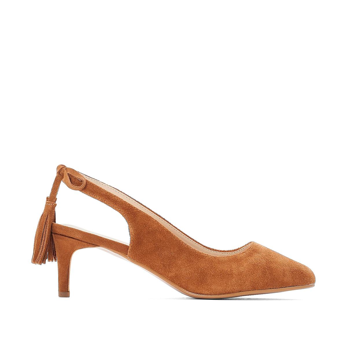 цена Туфли La Redoute С заостренным мыском с помпоном для широкой стопы размеры - 38 каштановый онлайн в 2017 году