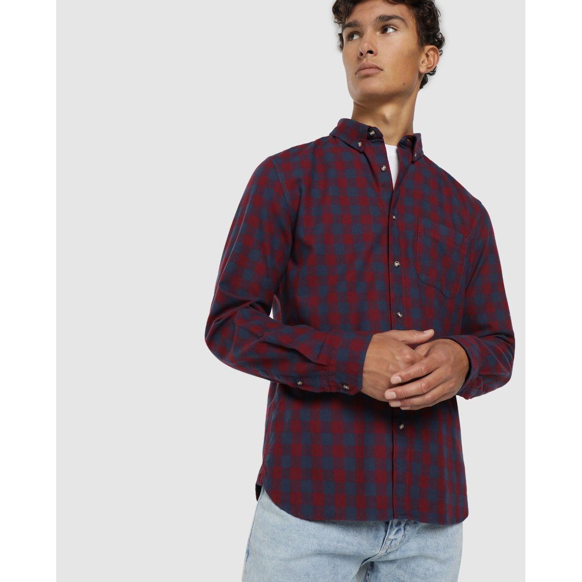 Chemise en viyella slim à carreaux