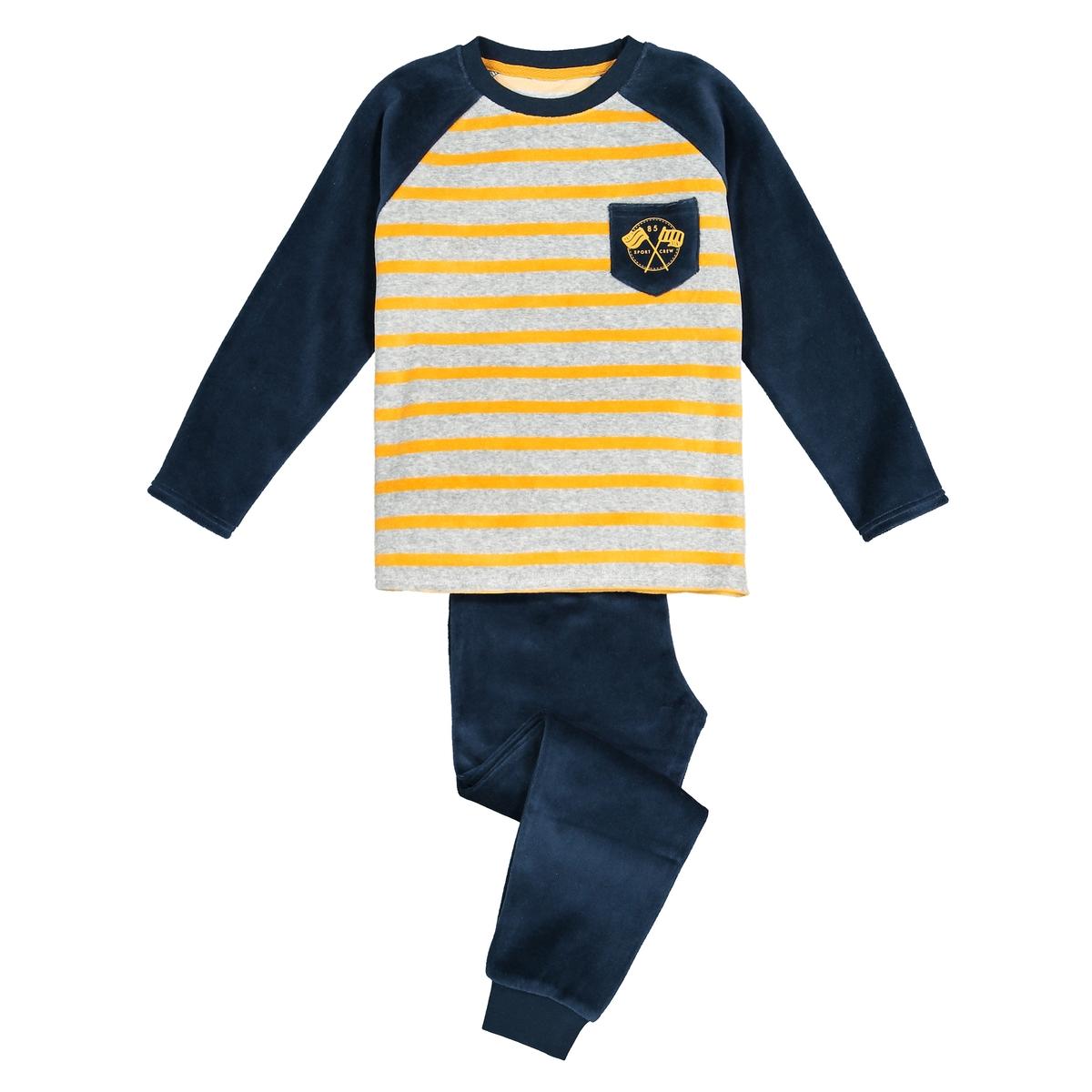 Пижама La Redoute Велюровая в полоску 3 года - 94 см серый футболка la redoute с круглым вырезом и принтом спереди 3 года 94 см серый