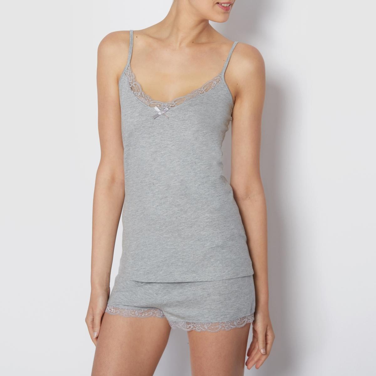 Пижама с шортами*Международный знак Oeko-Tex гарантирует отсутствие вредных и раздражающих кожу веществ.<br><br>Цвет: серый меланж
