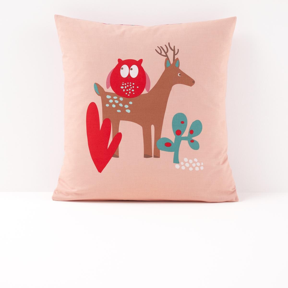 Наволочка детская с рисунком, BoralletoДетская наволочка Boralleto. Сова, олень, кролик и лиса встречаются с Красной шапочкой в лесу… Постельное белье с романтическими нотками погружает Вас в атмосферу фантастических сказок.Характеристики наволочки Boralleto :- Рисунок сова и олень на лицевой стороне, сплошной микрорисунок на оборотной стороне- 100% хлопок (57 нитей/см?). Чем плотнее переплетение нитей/см?, тем выше качество материала.- Машинная стирка при 60 °С.Знак Oeko-Tex® гарантирует, что товары прошли проверку и были изготовлены без применения вредных для здоровья человека веществ. Всю коллекцию детского постельного белья Boralleto вы можете найти на сайте la redoute.ru.   Размеры :63 x 63 см : квадратная наволочка<br><br>Цвет: наб. рисунок/ розовый