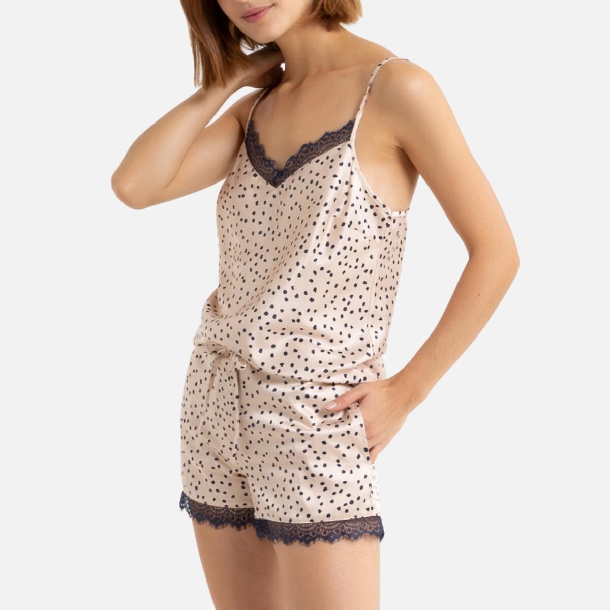 Пижама La Redoute С шортами с принтом в горошек из сатина 50 (FR) - 56 (RUS) бежевый пижама la redoute с шортами и цветочным принтом 12 лет 150 см другие