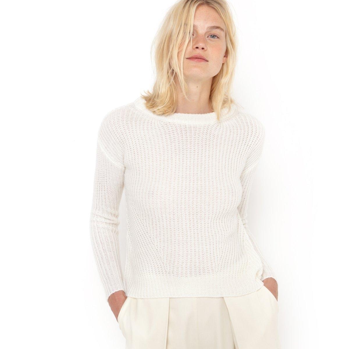 Пуловер короткий с длинными рукавамиКороткий пуловер R Essentiel. Рифленый трикотаж, 70% акрила, 20% полиамида, 10% мохера. Вырез-лодочка. Длина ок. 55 см.<br><br>Цвет: слоновая кость<br>Размер: 42/44 (FR) - 48/50 (RUS)