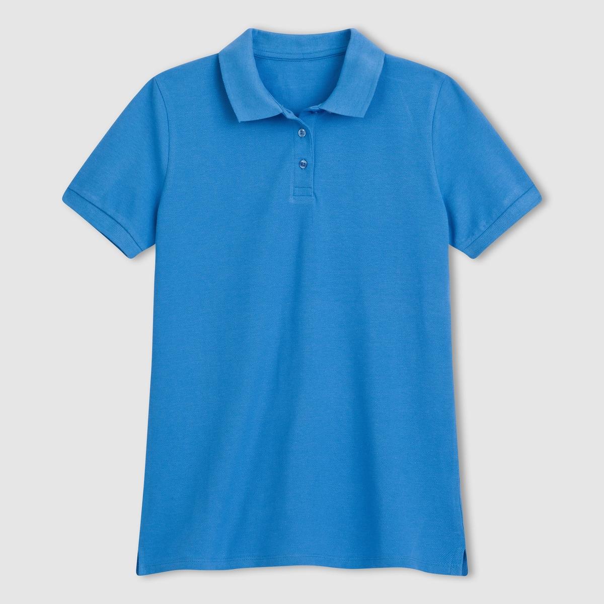 Футболка-поло с короткими рукавамиСтильная футболка-поло с короткими рукавами . 100% хлопка . Воротник-поло . Планка застежки на пуговицы . Длина 64 см  .<br><br>Цвет: синий морской волны<br>Размер: 42/44 (FR) - 48/50 (RUS)