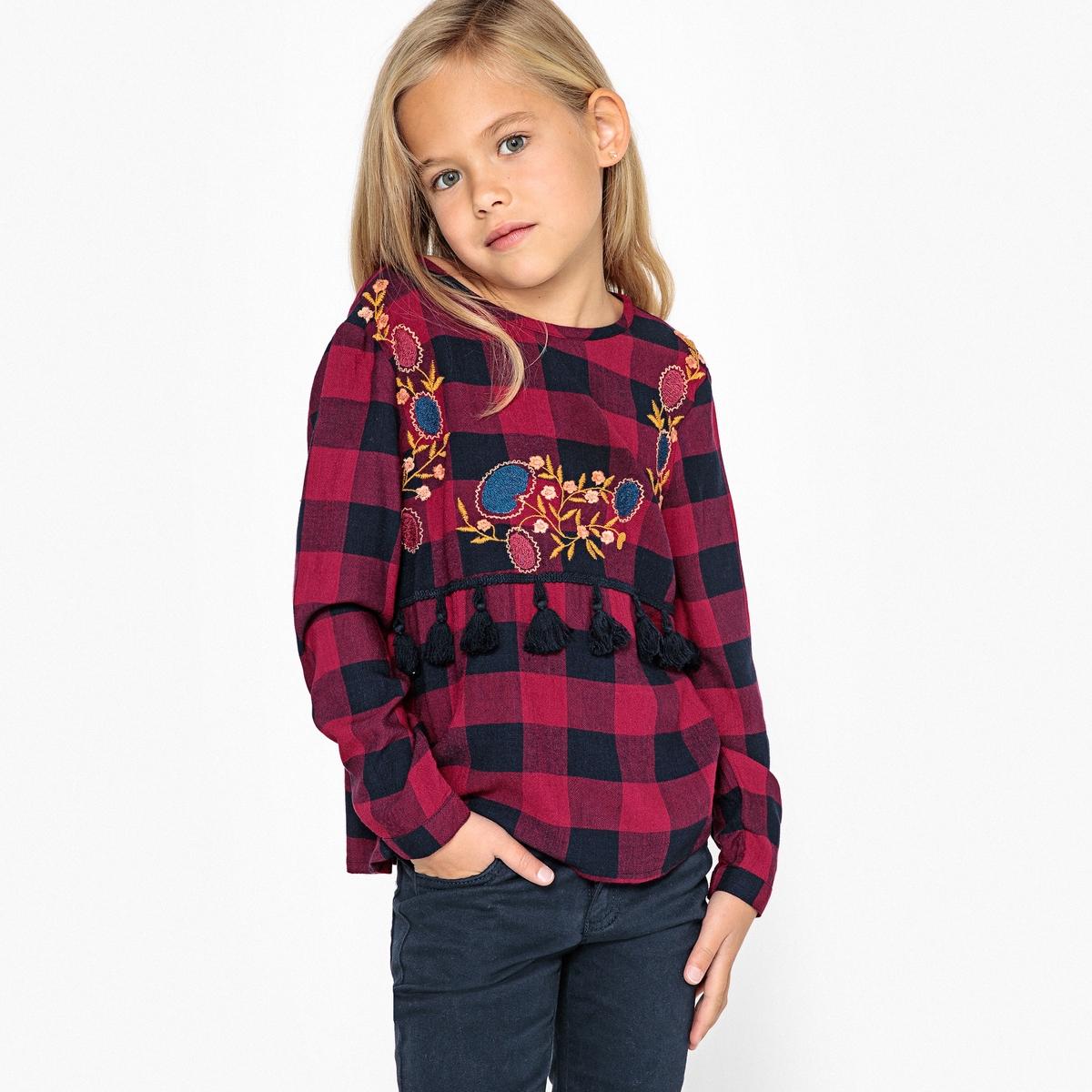 Блузка с вышивкой в клетку 3-12 лет блузка с вышивкой в стиле фолк