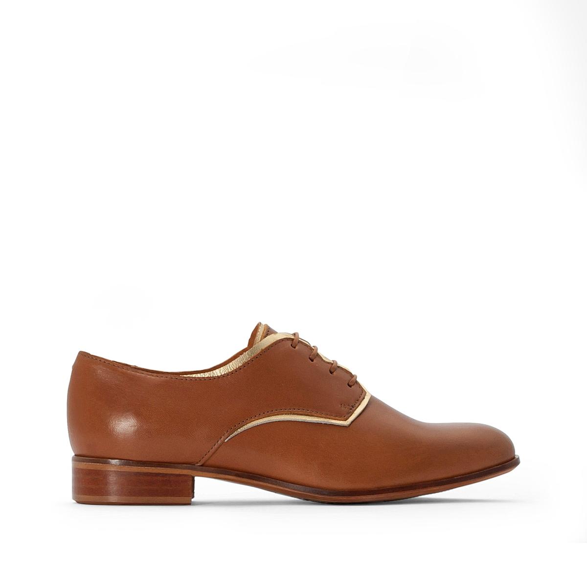 цена Ботинки-дерби La Redoute Кожаные на шнуровке 42 каштановый онлайн в 2017 году