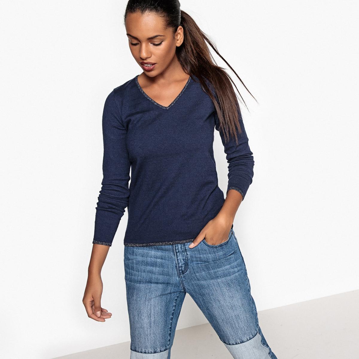 Пуловер из тонкого трикотажа с V-образным вырезомДетали •  Длинные рукава •   V-образный вырез •  Тонкий трикотаж Состав и уход •  5% кашемира, 94% хлопка, 1% других волокон •  Следуйте советам по уходу, указанным на этикетке<br><br>Цвет: бежевый,розовый,темно-синий<br>Размер: L.S
