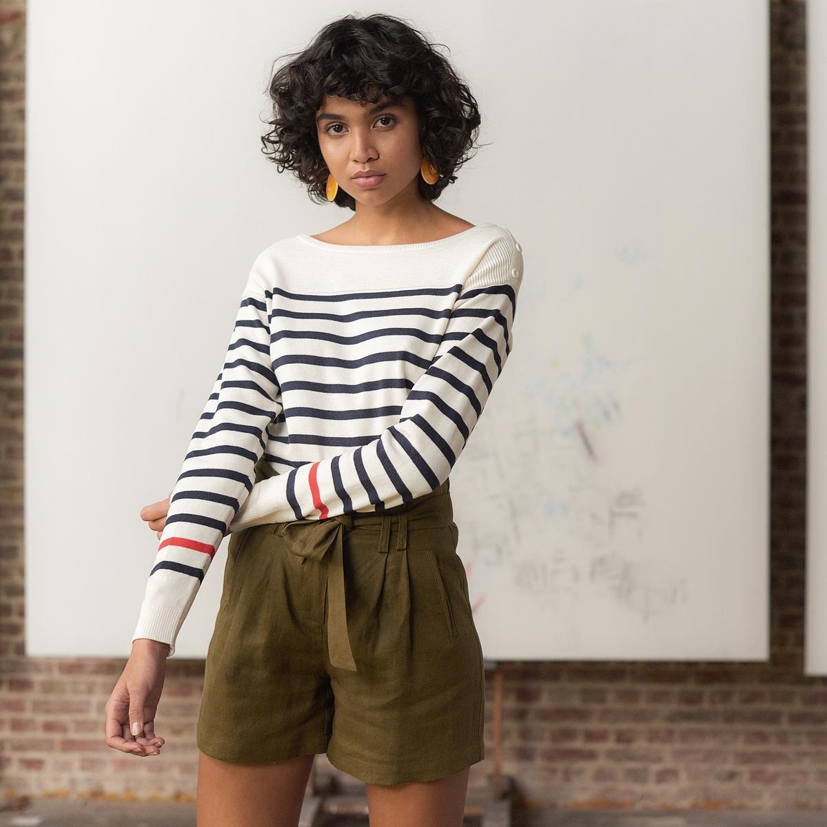 Camisola estilo marinheiro, gola redonda, mangas compridas