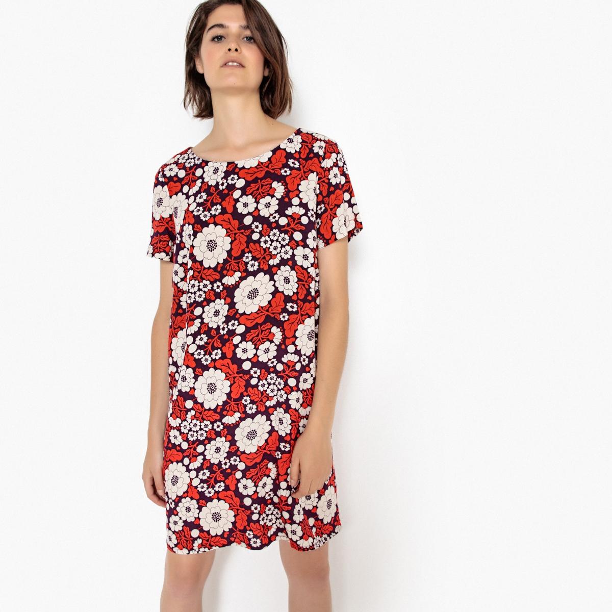 Платье La Redoute Прямое с цветочным рисунком пуговица сзади 34 (FR) - 40 (RUS) красный платье прямое с цветочным рисунком и контрастной полосой сзади