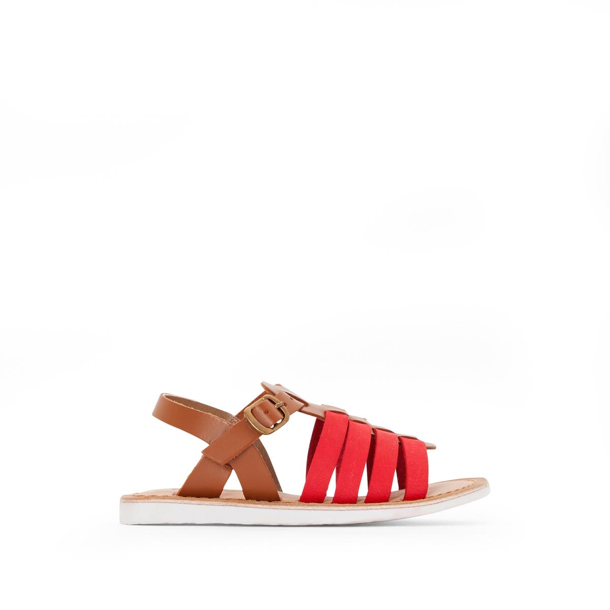 Сандалии кожаные двухцветные SpartaВерх : Невыделанная кожа   Подкладка : Козья кожа    Стелька : Кожа буйволаПодошва : синтетика   Застежка : пряжка.<br><br>Цвет: красный/темно-бежевый<br>Размер: 32.35