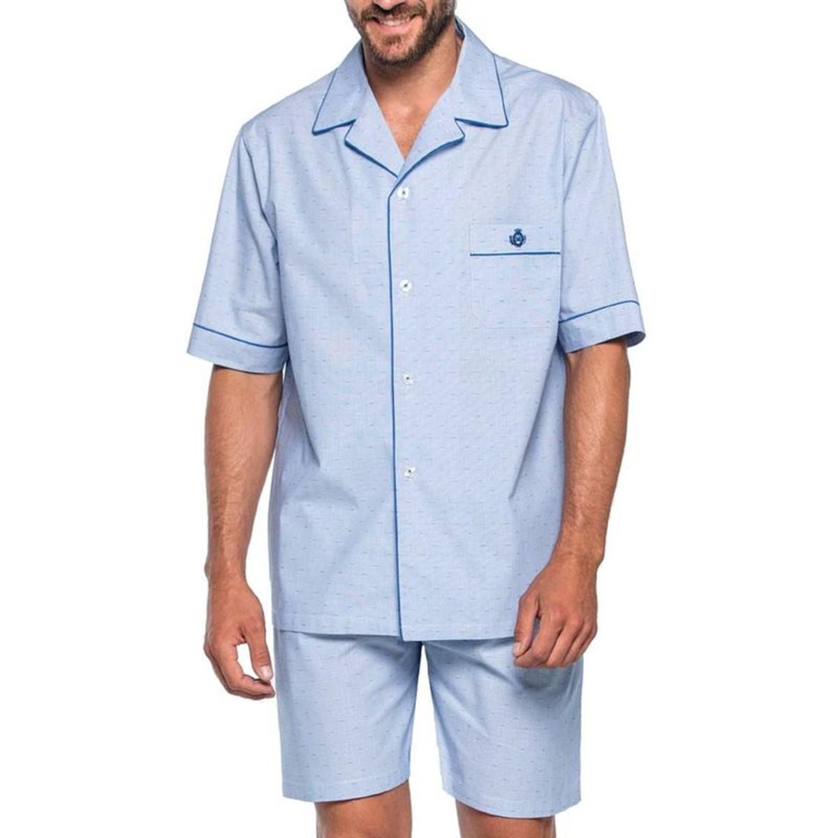 Pyjama court   en popeline de coton