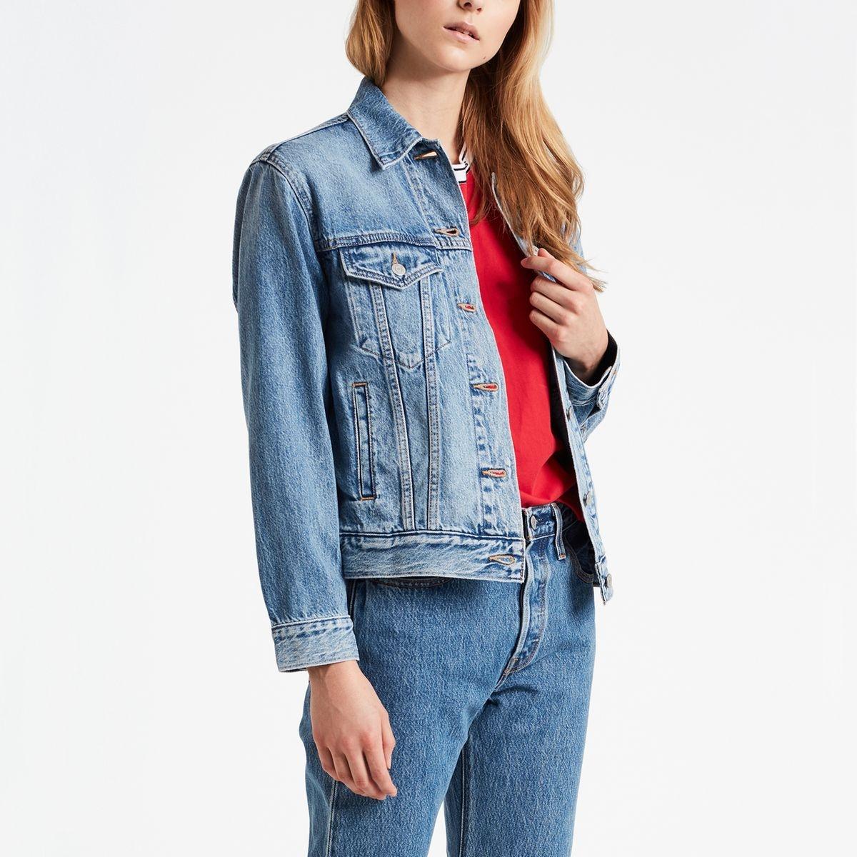 Veste en jean ex-boyfriend trucker, coupe droite