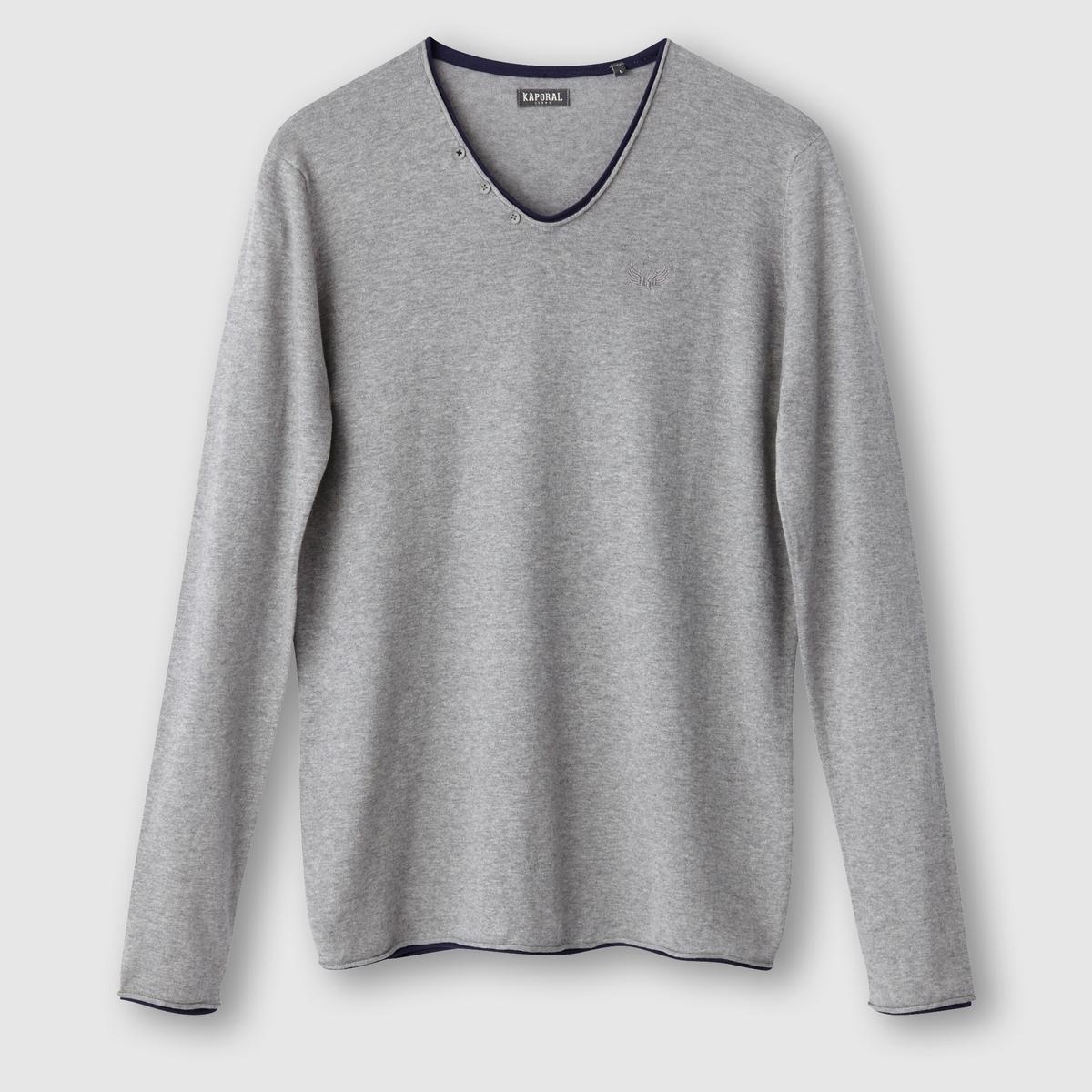 Пуловер Kerin с V-образным вырезомСостав и описаниеМатериал : 100% хлопкаМарка : KAPORAL<br><br>Цвет: серый меланж,черный<br>Размер: S