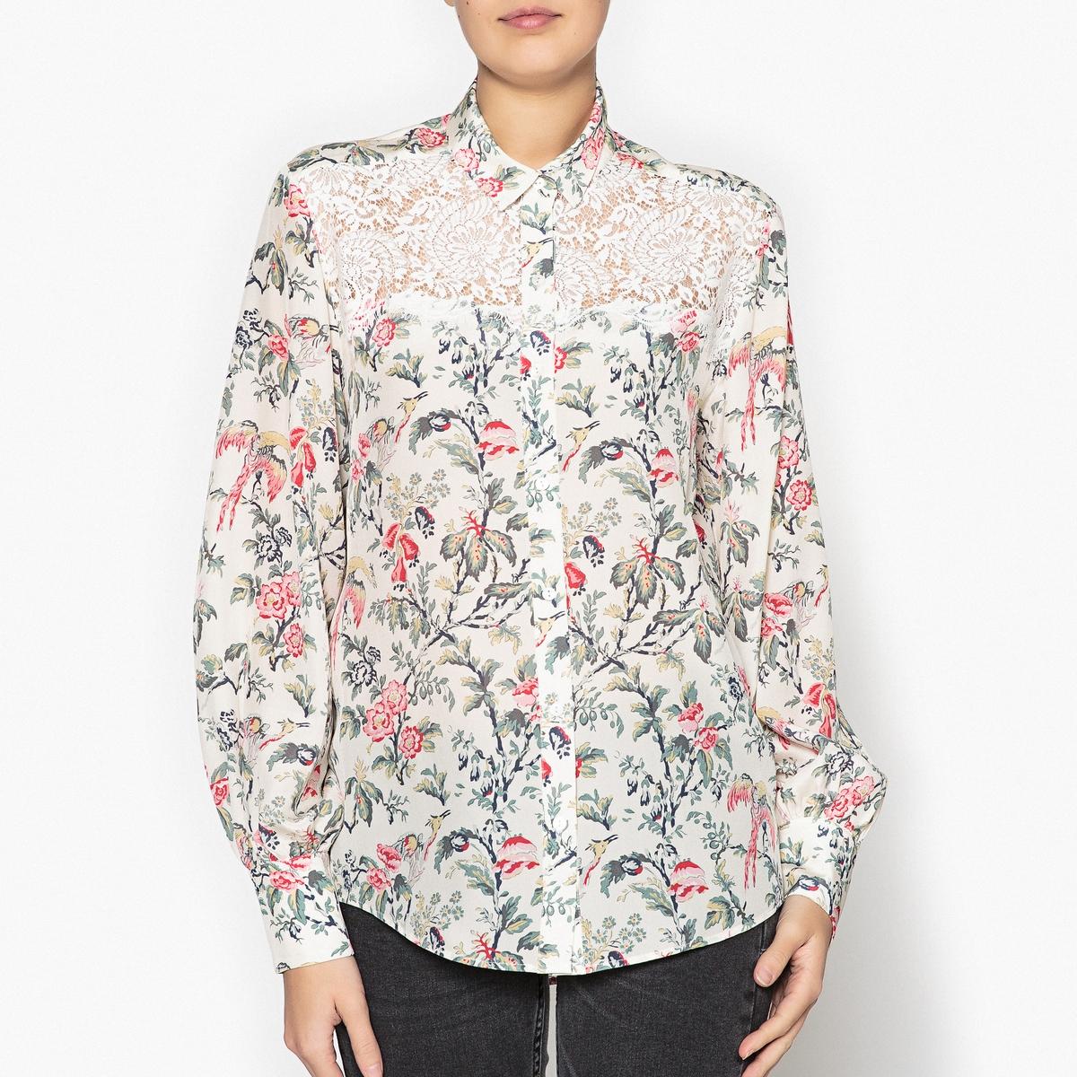 Рубашка с отложным воротником и длинными рукавами цена 2017