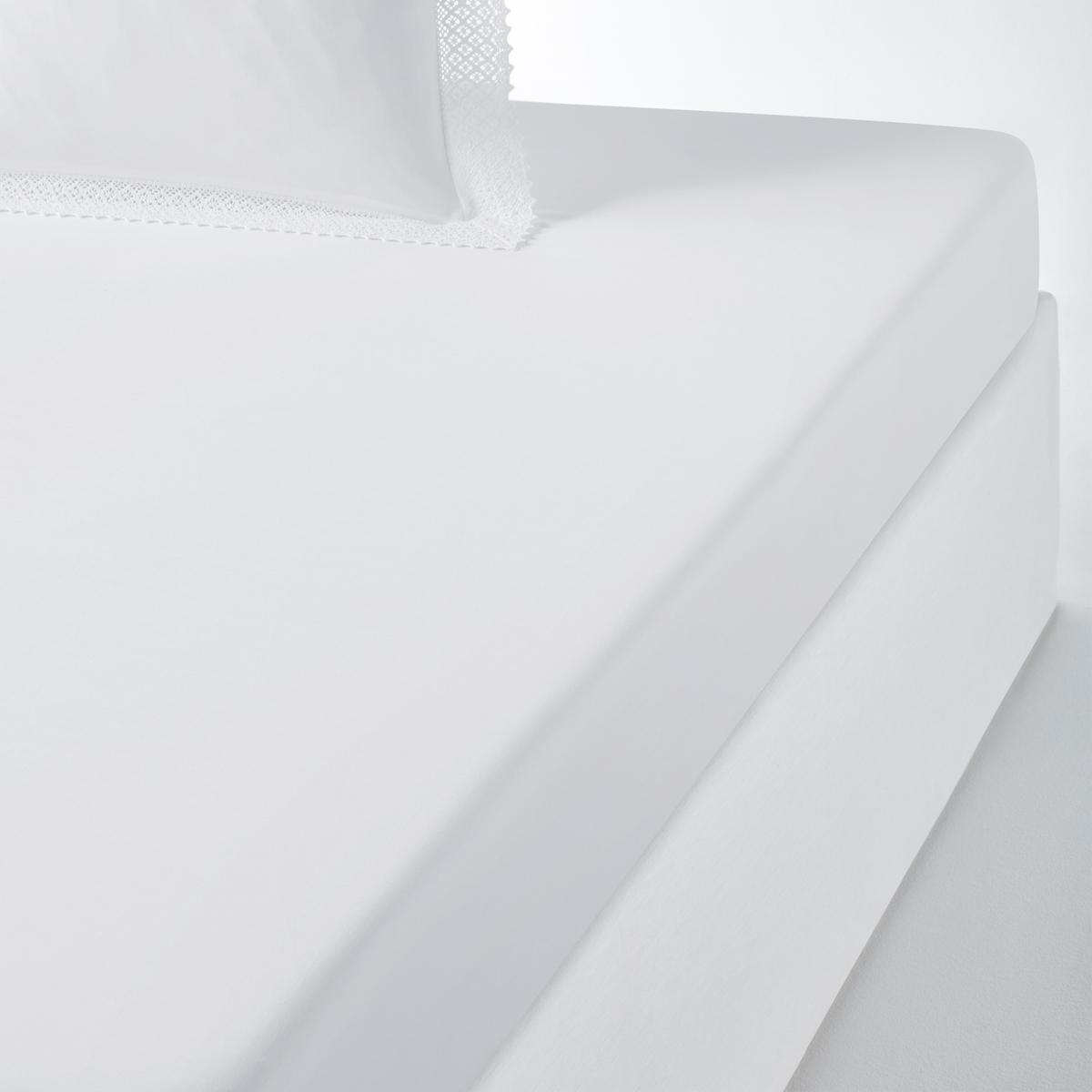 Простыня La Redoute Натяжная DENTELLE 90 x 190 см белый чехол la redoute защитный для матраса натяжной из эластичной микрофибры 90 x 190 см белый