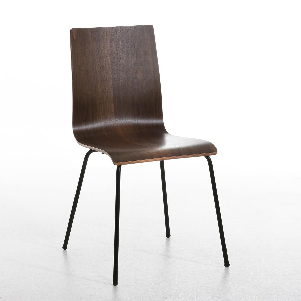 2 стула, BimatХарактеристики:- Однокорпусный из шпона орехового дерева. - Металлические ножки с черным эпоксидным покрытием. Размеры: - 48 x 86 x 52 см. - Сидение: 40 x 46 x 40 см.<br><br>Цвет: ореховый