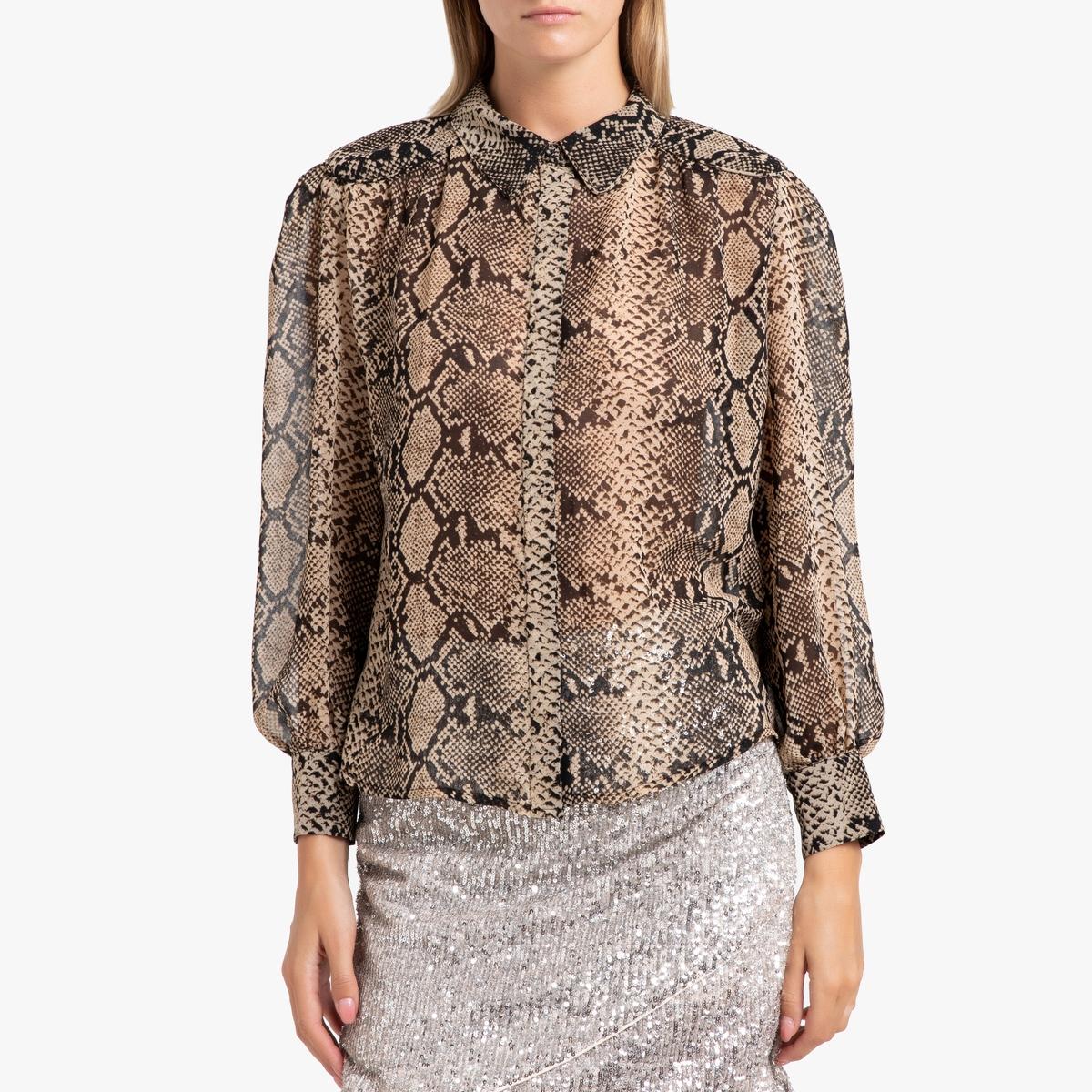 все цены на Рубашка La Redoute С принтом под кожу питона и длинными рукавами LOUKIA 0(XS) каштановый онлайн