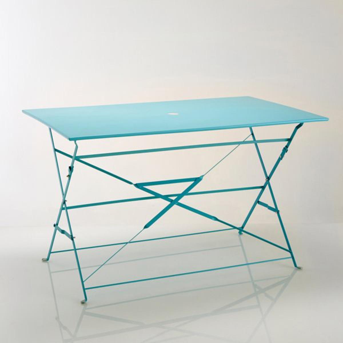 Стол прямоугольный складной из металлаХарактеристики стола из металла :Метал с ярким лакированным покрытием*.- Финальная отделка эпоксидным лаком.Центральное отверстие для зонта ?5 см.Стол продается готовым к сборке.Размеры стола из металла:Ширина: 120 смВысота: 70 смГлубина: 70 смТолщина в сложенном виде: 5 см.*Металл с антикоррозийной обработкой и покрытием эпоксидной эмалью делает этот столик  удобным  в использовании и устойчивым к ржавчине и неблагоприятным погодным условиям. Легкий, просто перемещать и хранить.Доставка:Стол продается готовым к сборке. Доставка на дом с возможностью подъёма на этаж!Внимание! Убедитесь, что товар возможно доставить на дом, учитывая его габариты (проходит в двери, по лестницам, в лифты).<br><br>Цвет: белый,бирюзовый