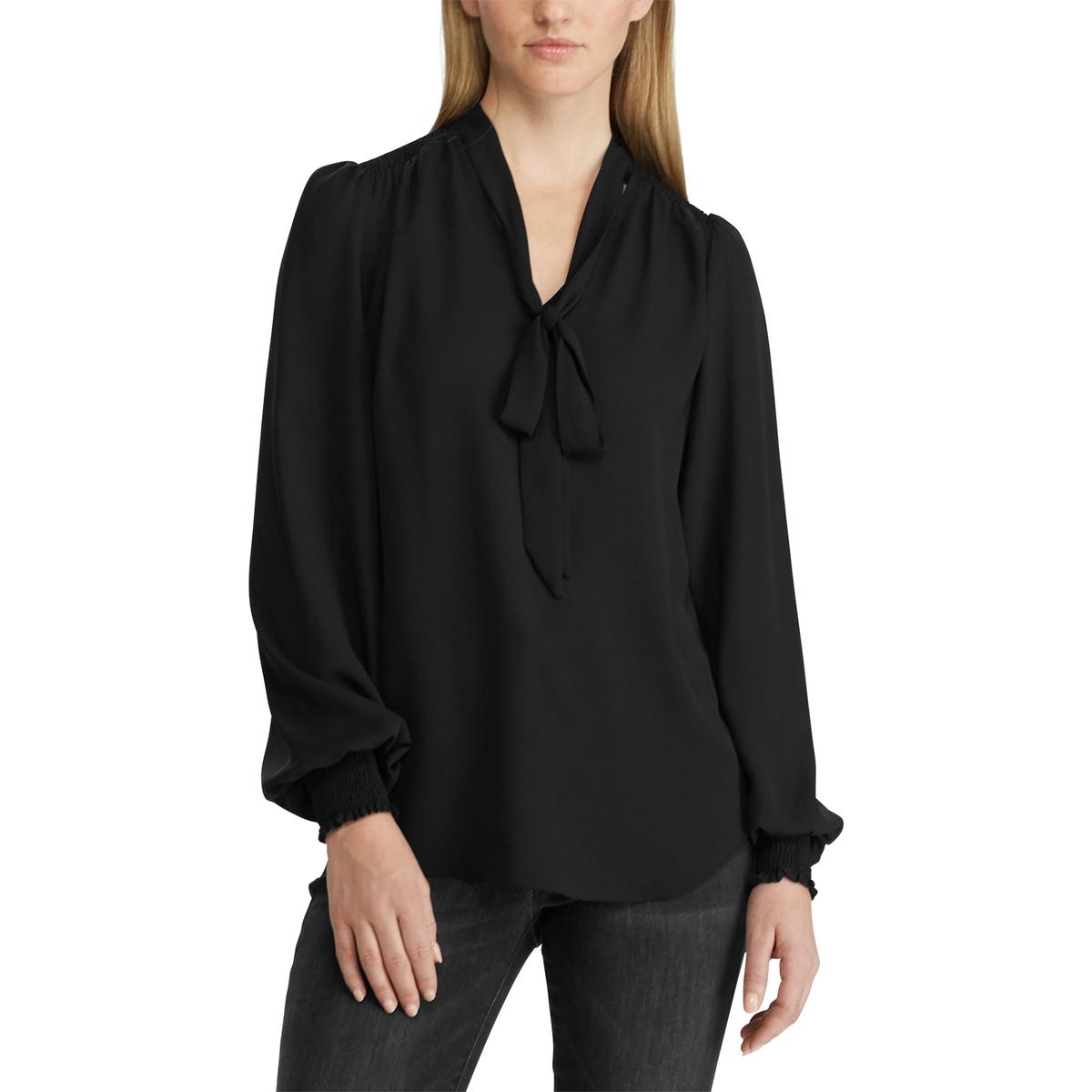 Блузка La Redoute С завязками и длинными рукавами L черный