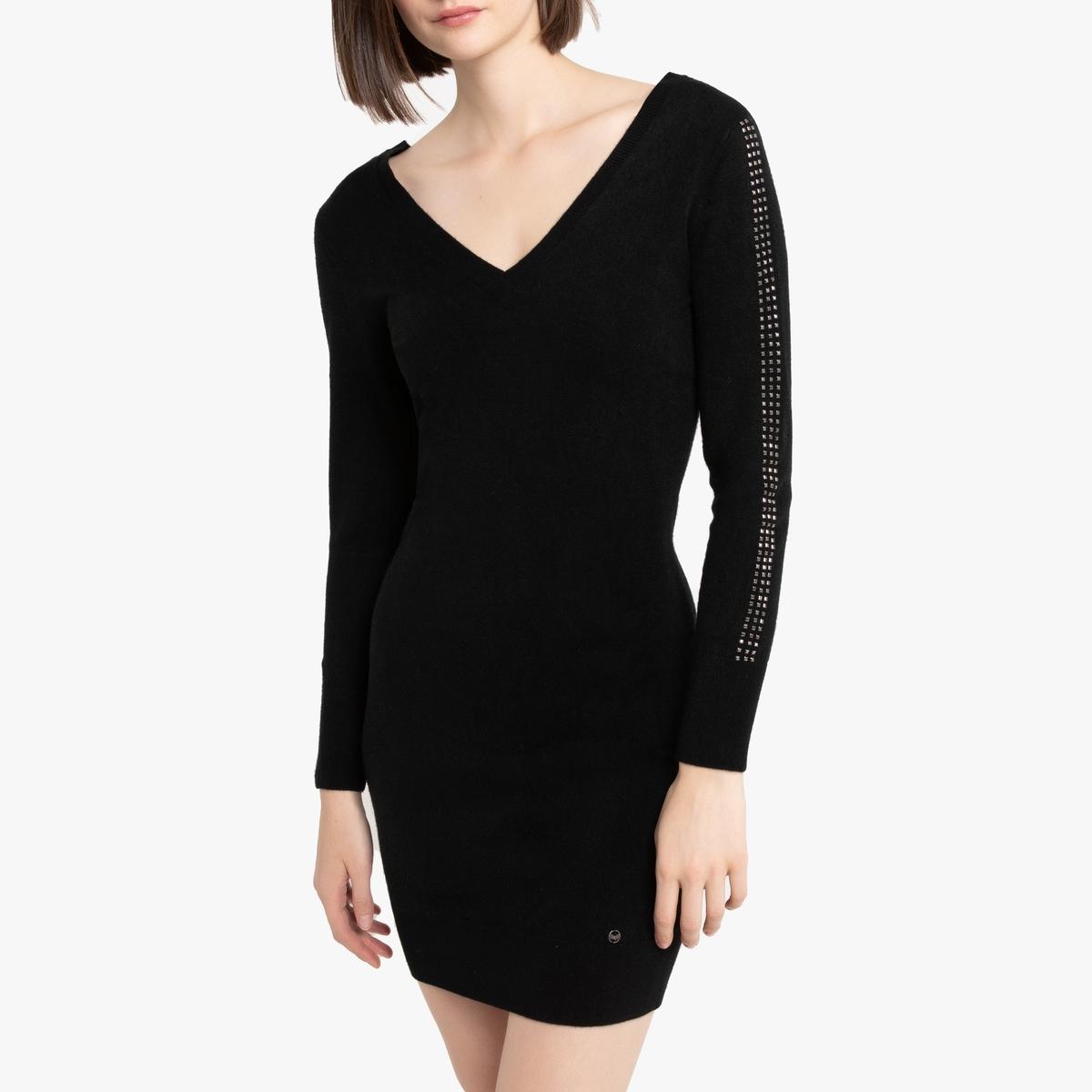 цена Платье La Redoute Облегающее с V-образным вырезом и глубоким вырезом сзади L черный онлайн в 2017 году