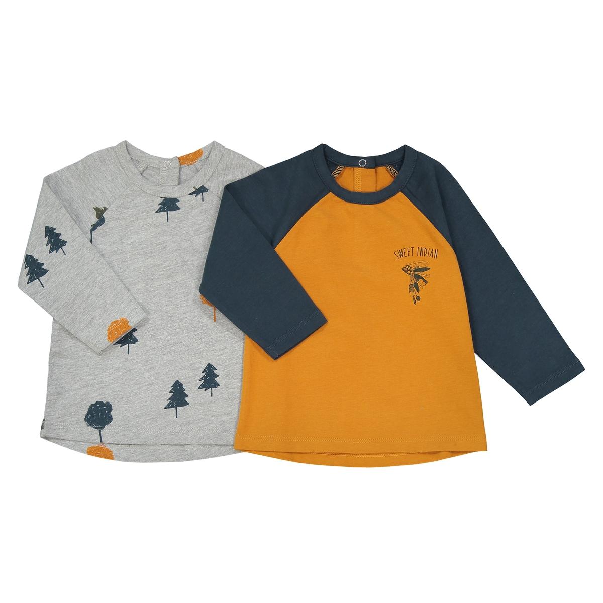 Комплект из 2 футболок с длинными рукавами, 1 мес. - 3 года комплект из 4 футболок 1 мес 3 года oeko tex